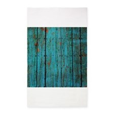 Teal nailed wood fence texture 3'x5' Area Rug