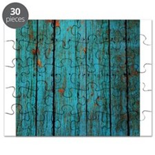 Teal nailed wood fence texture Puzzle