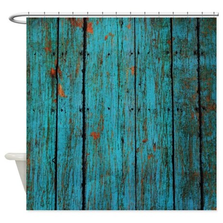 Teal Nailed Wood Fence Texture Shower Curtain By Patterndesigns