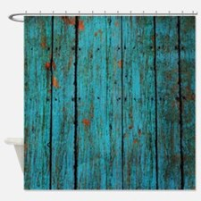 Teal nailed wood fence texture Shower Curtain