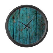 Teal nailed wood fence texture Large Wall Clock