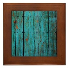 Teal nailed wood fence texture Framed Tile