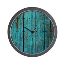 Teal nailed wood fence texture Wall Clock