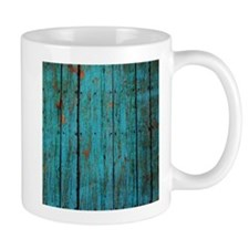 Teal nailed wood fence texture Mugs