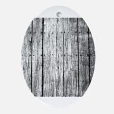 White nailed wood fence texture Ornament (Oval)