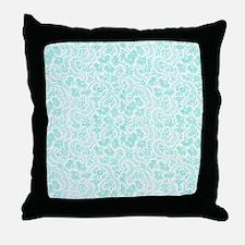 Teal Floral Throw Pillow