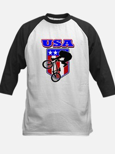 Patriotic USA BMX Biker Kids Baseball Jersey