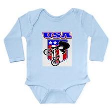 Patriotic USA BMX Bike Long Sleeve Infant Bodysuit