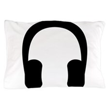 Black Headphones Pillow Case