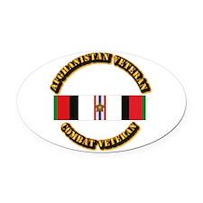 Afhganistan Veteran w Campaign Sta Oval Car Magnet