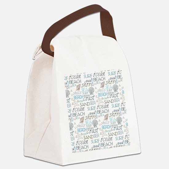 Beach Typography Canvas Lunch Bag