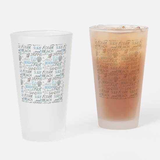 Beach Typography Drinking Glass