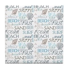 Beach Typography Tile Coaster