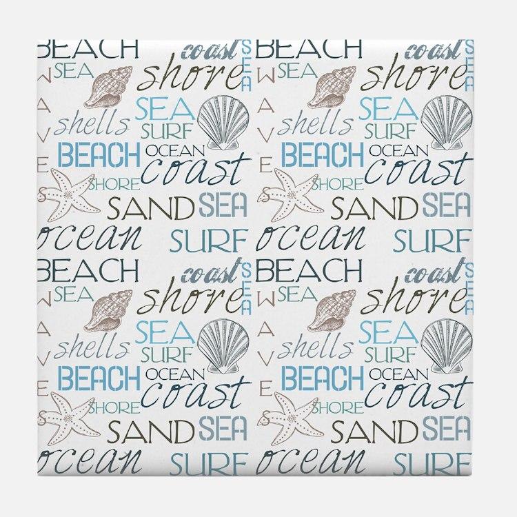 Beach Typography Tile Coaster