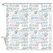 Beach Typography Shower Curtain