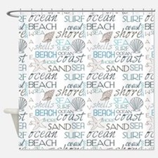 Beach Typography Shower Curtain