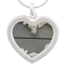 Coral Heart Silver Heart Necklace