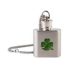 St. Patricks Day Clover Flask Necklace