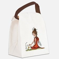 woodland fairy admires a rose Canvas Lunch Bag