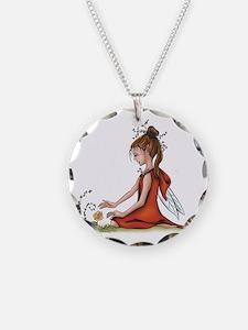 woodland fairy admires a ros Necklace
