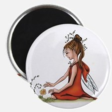 woodland fairy admires a rose Magnet