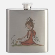 woodland fairy admires a rose Flask