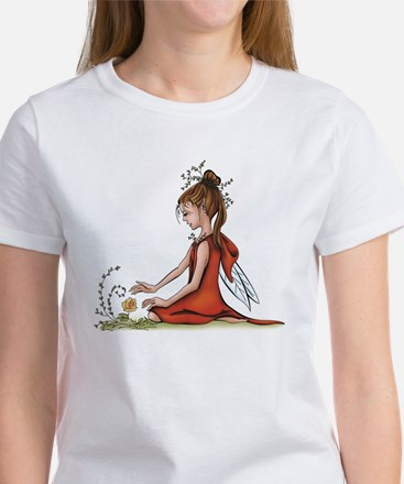 woodland fairy admires a rose Women's T-Shirt