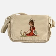 woodland fairy admires a rose Messenger Bag