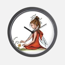 woodland fairy admires a rose Wall Clock