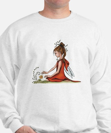 woodland fairy admires a rose Jumper