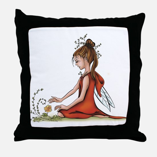 woodland fairy admires a rose Throw Pillow
