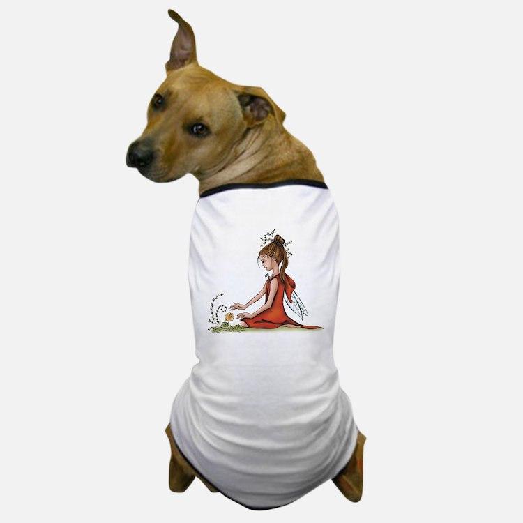 woodland fairy admires a rose Dog T-Shirt