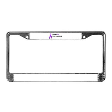 Purple Ribbon License Plate Frame