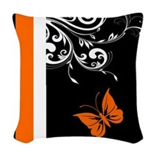 Orange Black and white Butterfly Flourish Woven Th