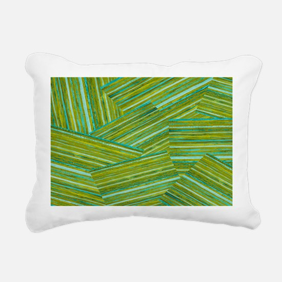 Washed Styled Green Striped Rectangular Canvas Pil