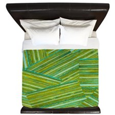 Washed Styled Green Striped King Duvet
