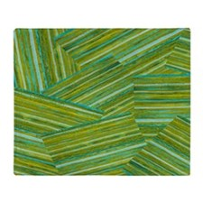 Washed Styled Green Striped Throw Blanket