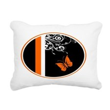 Orange Black and white Butterfly Flourish Rectangu