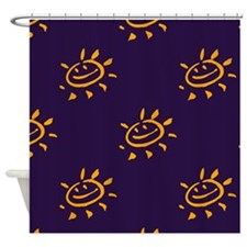 Yellow Smiley Face Purple Shower Curtain