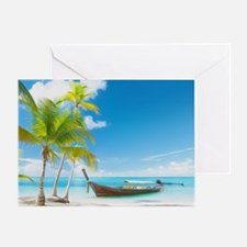 A Boat On A Tropical Beach Greeting Card