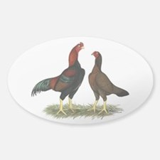 Aseel Black Red Chickens Decal