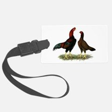 Aseel Black Red Chickens Luggage Tag