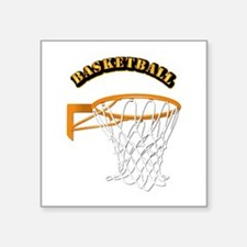 "Basketball w Text Square Sticker 3"" x 3"""