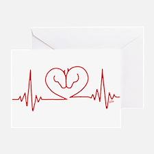 Horses Love Heartbeats Heart Greeting Card