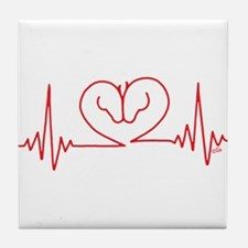 Horses Love Heartbeats Heart Tile Coaster