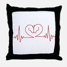 Horses Love Heartbeats Heart Throw Pillow