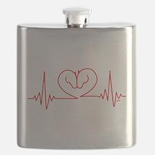 Horses Love Heartbeats Heart Flask