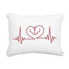 Horses Love Heartbeats H Rectangular Canvas Pillow