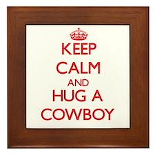 Keep Calm and Hug a Cowboy Framed Tile