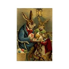 Easter rabbits painting eggs 2 Rectangle Magnet